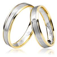 2 x Trauringe 585er Gelbgold / Weißgold 1 x Zirkonia Paarpreis Gravur Etui