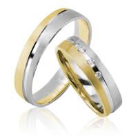 2 xTrauringe 333 Gold Bicolor mit 3 Zirkonia Hochzeitsringe Eheringe Gravur Etui
