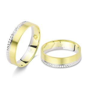 2 x Trauringe 585er Weißgold / Gelbgold Diamantiert Hochzeitsringe Verlobungsringe Eheringe Gravur