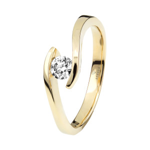 Damen 585(14K) Diamantring Spannring Gelbgold 0,10 carat...
