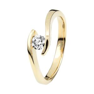 Damen 585(14K) Diamantring Spannring Gelbgold 0,15 carat...