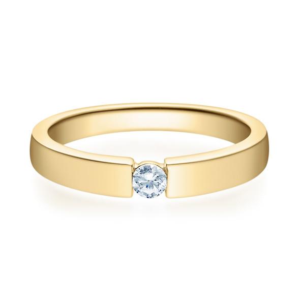 585er 14K Damen Verlobungsring Gelbgold Solitärring Diamantring 0,10 ct. Ehering