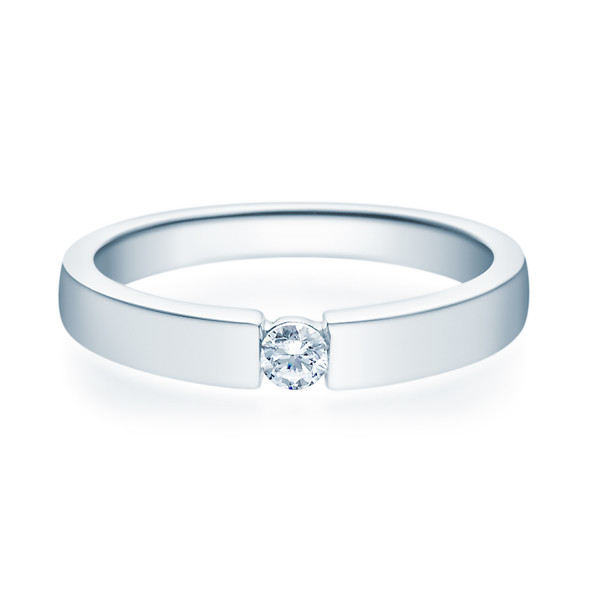 Damener 585er Verlobungsring Weißgold Solitärring Diamantring 0,15 ct. Ehering
