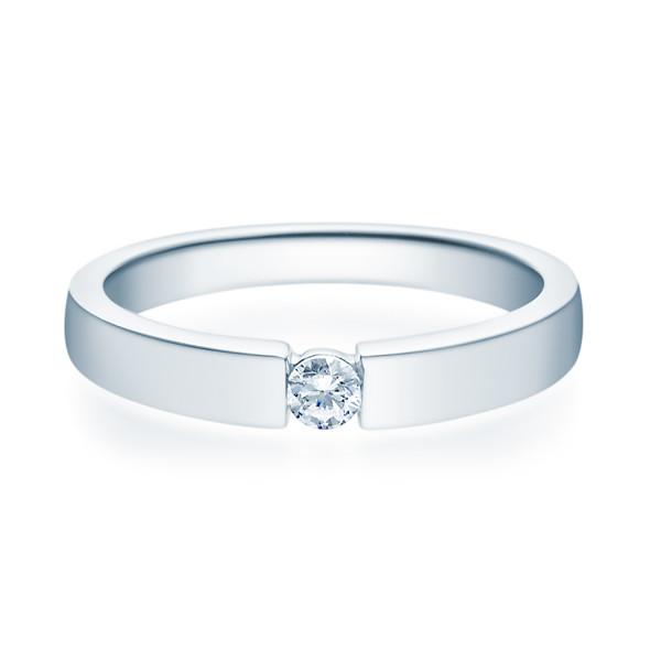 Damen 585er Verlobungsring Weißgold Solitärring Diamantring 0,25 ct. Ehering 14K