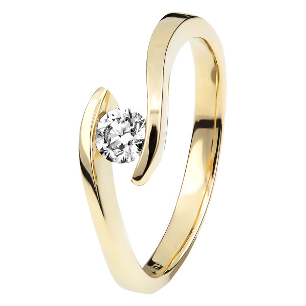 Damen 585er Gelbgold 0,35 ct. Diamant Spannring Verlobung Solitär Antragsring