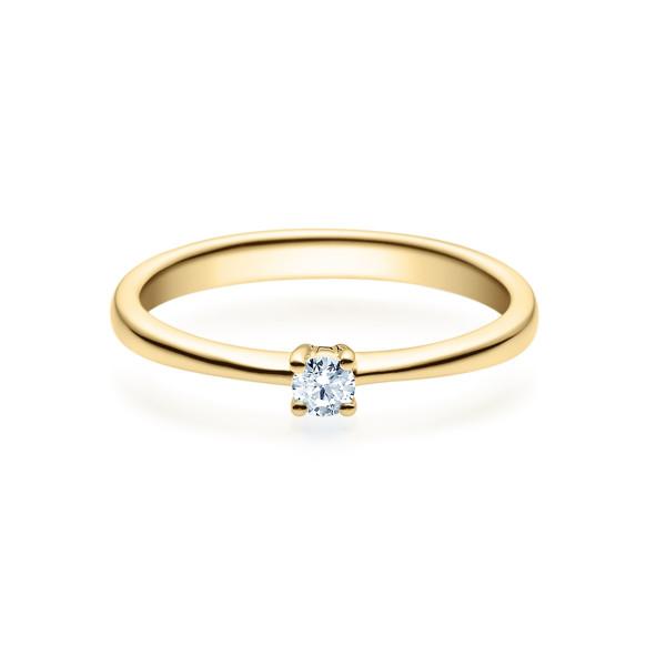 Damen Diamantring 375er Gelbgold Spannring 0,05 carat Verlobungsring Solitärring
