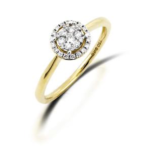 Damen Diamantring 750er Gelbgold 0,23 carat Illusion...