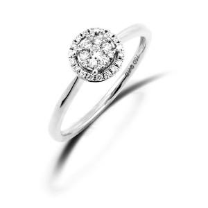 Damen Diamantring 750er Weißgold 0,23 carat Illusion Fassung Verlobungsring Solitärring