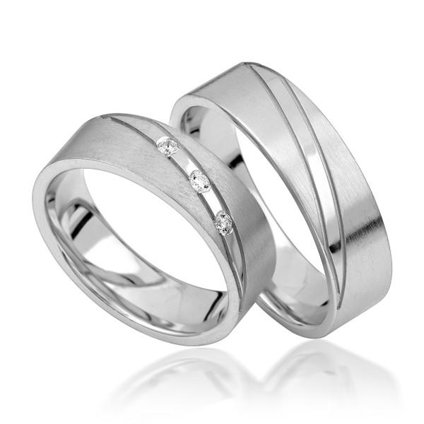 2 x Silber 925 Trauringe Eheringe Verlobungsringe Partnerringe Freundschaftsringe M23