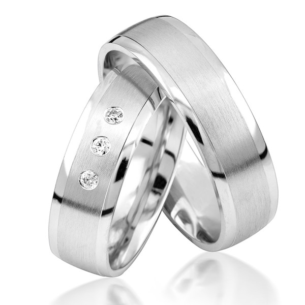 2 x Silber 925 Trauringe Eheringe Verlobungsringe Partnerringe Freundschaftsringe M24