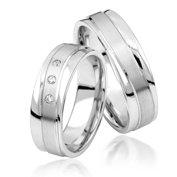 2 x Silber 925 Trauringe Eheringe Verlobungsringe Partnerringe Freundschaftsringe M27