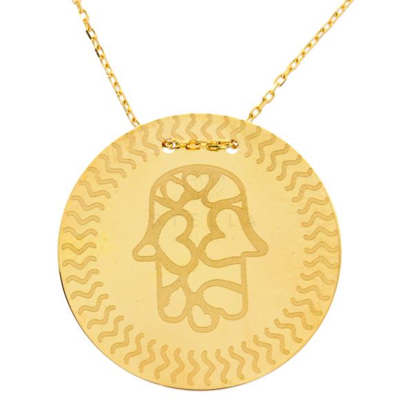 Damen Halskette Hamsa Fatimas Hand Anhänger Rund Gold Kette 585 14 Karat