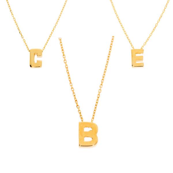Damen Halskette mit Buchstaben Anhänger Gold 585 Namensanhänger Kette 14 Karat