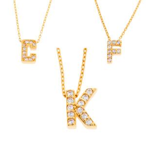 Damen Buchstabenkette Gold 585 Zirkonia Namenskette A - Z...