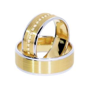 2 xTrauringe WG/GG 585 Hochzeitsringe Verlobungsringe Eheringe Vollkranz Zirkonia