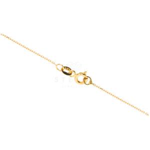 585er Collierkette Gravurplatte Rund Gold mit Zirkonia Platte -Ø19,5 / 15,9