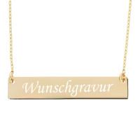 Namenskette Kette mit Gravur Anhänger Platte Halskette 585 Gold personalisiert