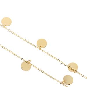 Damen Halskette mit 7 Plättchen 585 Gold Kreis Kette...