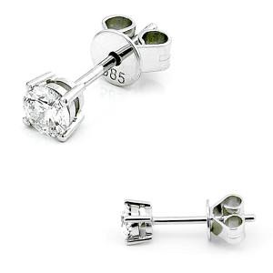 585er Weißgold Diamanten Ohrstecker 4er Krappe Ohrringe Brilliant Solitaire