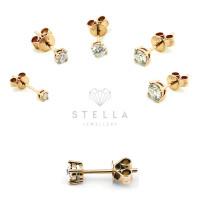 Paar 585er Rotgold Diamanten Ohrstecker 4er Krappe Solitaire Ohrringe Brilliant