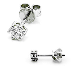585er Weißgold Diamanten Ohrstecker 6er Krappe