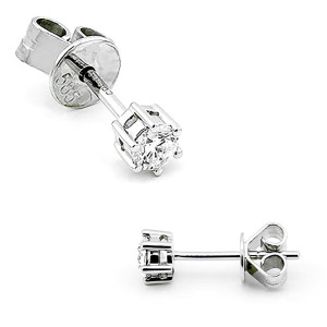 Paar 585er Weißgold Diamanten Ohrstecker 6er Krappe...