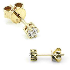 585er Gelbgold Diamanten Ohrstecker 6er Krappe - 0,20 ct.