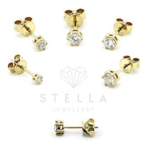 585er Gelbgold Diamanten Ohrstecker 6er Krappe - 0,50 ct.