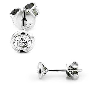 Brillanten Solitaire Ohrstecker 585 Weißgold Zargenfassung Ohrringe Diamant