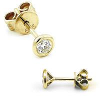 585er Gelbgold Diamanten Ohrstecker Zargenfassung