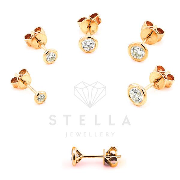 585er Rotgold Diamanten Ohrstecker Zargenfassung