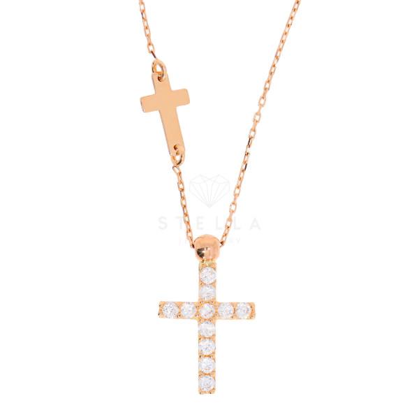 585 Rotgold Halskette mit Zirkonia Kreuz Anhänger