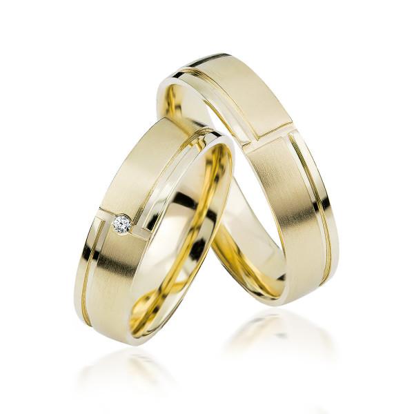 2 xTrauringe GG 375 Hochzeitsringe Verlobungsringe Eheringe Gravur Brillant S903