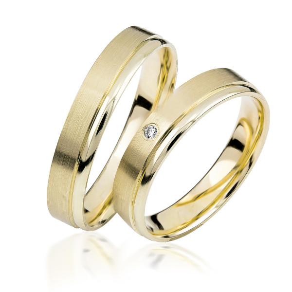 2 xTrauringe GG 375 Hochzeitsringe Verlobungsringe Eheringe Gravur Brillant S909