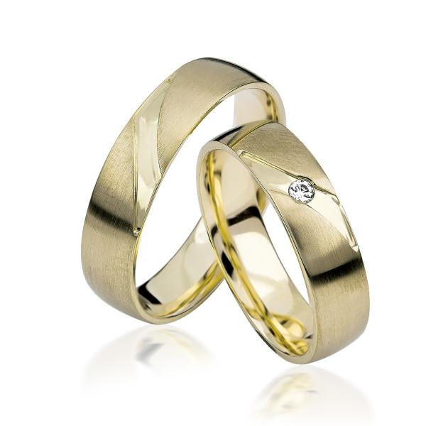 2 xTrauringe GG 375 Hochzeitsringe Verlobungsringe Eheringe Gravur Brillant S911