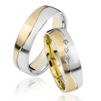 2 xTrauringe 375 9K Hochzeitsringe Verlobungsringe Eheringe Gravur Brillant S916