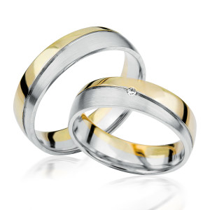 2 xTrauringe 375 9K Hochzeitsringe Verlobungsringe Eheringe Gravur Brillant S917