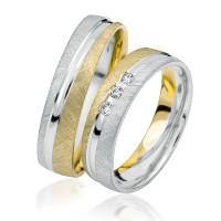 2 xTrauringe 375 9K Hochzeitsringe Verlobungsringe Eheringe Gravur Brillant S920