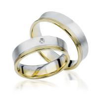 2 xTrauringe 375 9K Hochzeitsringe Verlobungsringe Eheringe Gravur Brillant S922