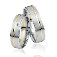 2 xTrauringe 375 9K Hochzeitsringe Verlobungsringe Eheringe Gravur Brillant S923