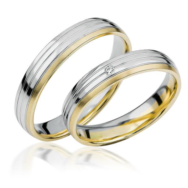 2 xTrauringe 375 9K Hochzeitsringe Verlobungsringe Eheringe Gravur Brillant S924