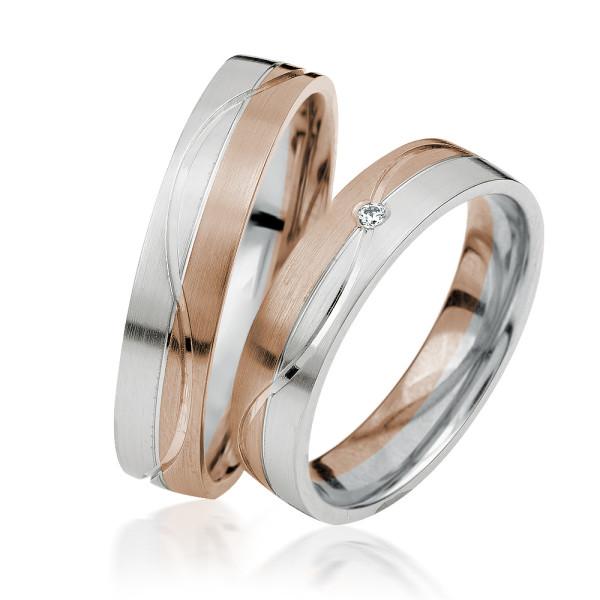 2 xTrauringe 375 9K Hochzeitsringe Verlobungsringe Eheringe Gravur Brillant S927