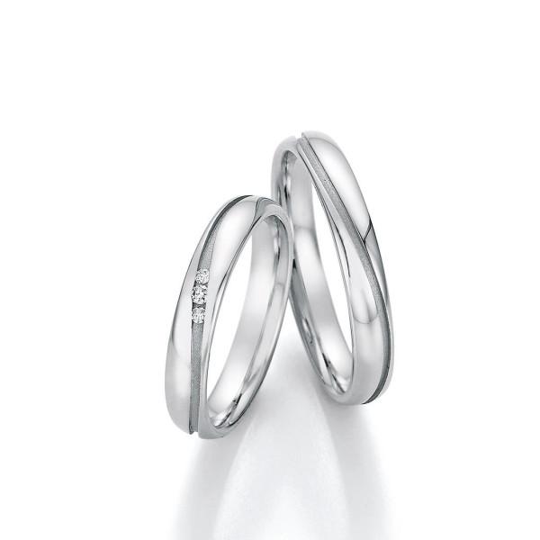 2 x Edelstahl Trauringe 3 x Brillant 0,040ct Hochzeitsringe Eheringe Partnerringe Whitestyle Steel Basics
