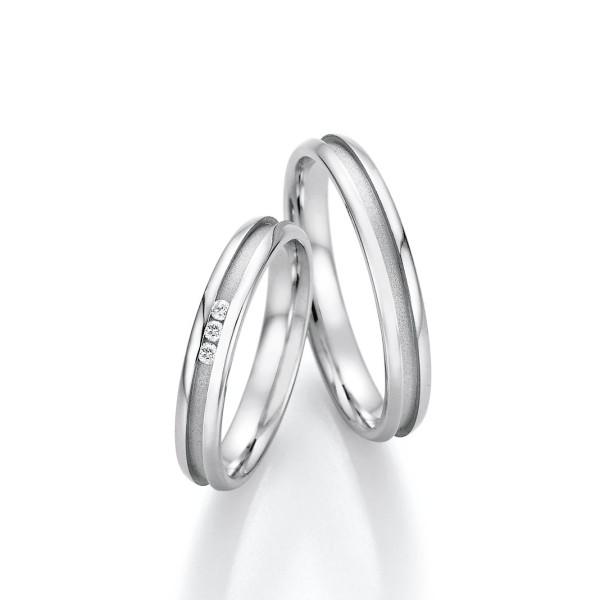 2 x Edelstahl Trauringe 3 x Brillant 0,039ct Eheringe Hochzeitsringe Partnerringe Whitestyle Steel Basics