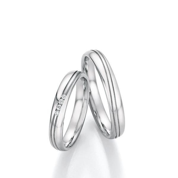 2 x Edelstahl Trauringe 4 x Brillant 0,040ct Eheringe Hochzeitsringe Partnerringe Whitestyle Steel Basics
