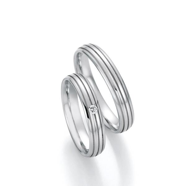 2 x Edelstahl Trauringe Brillant 0,040ct Hochzeitsringe Eheringe Partnerringe Whitestyle Steel Basics