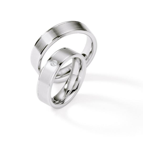 2 x Edelstahl Trauringe Brillant 0,045ct Hochzeitsringe Eheringe Partnerringe Whitestyle Steel Brillant