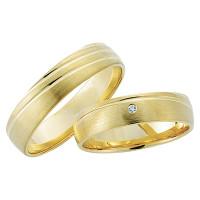 2 x 333 Gelbgold Trauringe Diamant 0,01ct Eheringe Hochzeitsringe Partnerringe R197