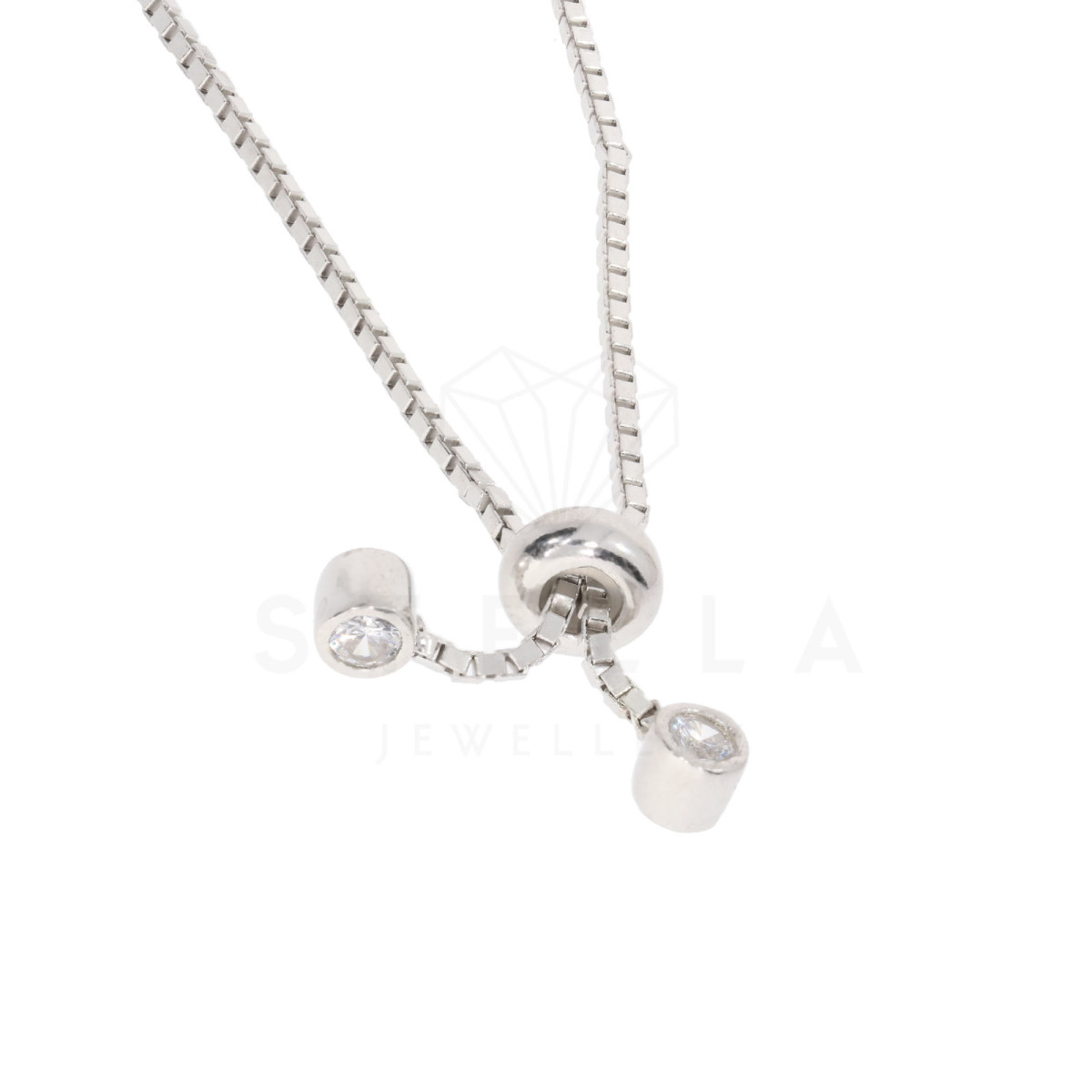 Damen Armband Plättchen Silber 925 Kreis Armkette Zirkonia inkl. Gravur