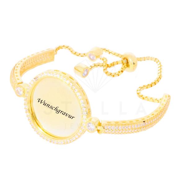 Damen Armband Plättchen Silber 925 Vergoldet Kreis Armkette Zirkonia inkl. Gravur